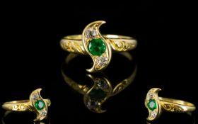Ladies Nice Quality Antique 18ct Gold Diamond & Emerald Set Dress Ring.