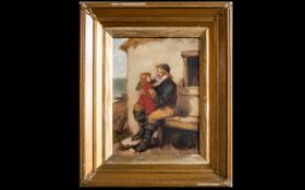 William F Hardy Oil Canvas 'Grandfathers Pet' Signed to bottom right, Gilt swept frame, 16 x 12