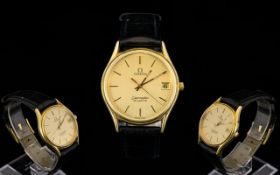 Omega - Seamaster Quartz Date-just Gold Plated Watch with Original Attached Omega Leather Strap,