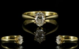 18ct Gold - Oval Cut Single Stone Set Diamond Ring, Marked 750-18ct. Top Quality Diamond. Est weight