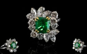 Art Deco Period 18ct White Gold - Superb and Attractive Emerald and Diamond Set Cocktail Ring,