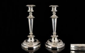 George III John and Thomas Settle A Pair Of Silver Candlesticks Each raised on circular base with