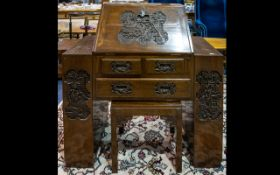 Oriental Carved Bureau - of small proportion,