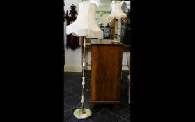 Green Onyx Standard Lamp Raised on circular base with ovoid bead sectional pillar column with gilt