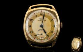 Rone - Sportsman 9ct Gold Cased Mechanical Wrist Watch, Date 1948.