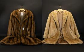Vintage Mink Full Length Coat Ladies golden brown mink single breasted coat with revere collar,