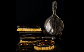 A Collection of Vintage Faux Tortoise Shell Vanity Items five items in total to include two hair