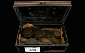 Small Cash Box (No Key) Full Of Very Old Coins several from the 1800's and most dates visible.