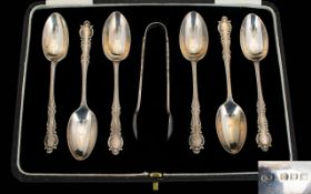 1920's Attractive Set of Six Silver Teaspoons with Matching Pair of Sugar Nips,