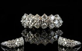 White Gold Diamond Cluster Ring Set with three rows of 19 round modern brilliant cut diamonds,