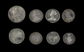 English Silver Threepences (2) Queen Anne dates 1709 and 1708.