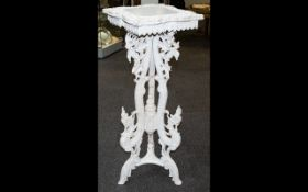 Eastern Carved Wood Jardiniere Stand With Thai dragon supports and foliage, square top,