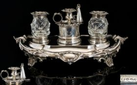 Mid Victorian Period Superb Quality Solid Silver Combined Inkstand / Candle Holder / Snuffer.