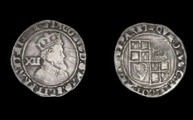 King James 1st Hammered Silver Shilling date 1603-1604.
