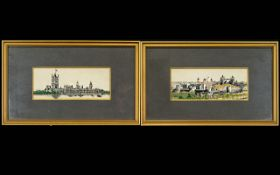 A Pair Of Woven Silk Views Of London Two framed and mounted silks each depicting finely woven