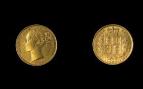 Victoria 22ct Gold Young Head / Shield Back Full Sovereign.
