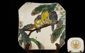 Antique Japanese Square Shaped Dish Thickly Glazed. Decorated In Coloured Enamels Depicting Birds On