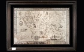 John Pinches Large & Impressive Royal Geographical Limited Edition Sterling Silver Map of the World.