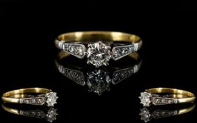 18ct Gold and Platinum Single Stone Diamond Ring,