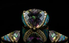 Fine Quality and Attractive 14ct Gold Caribbean Topaz and Diamond Set Dress Ring,