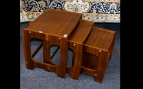 Teak Nest Of Three Tables G-Plan style - unmarked. Height, 16 inches, 20 x 15 inches.