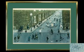 Tom Dodson Signed Print 'Street Games' Framed and mounted under glass, pencil signed to bottom left,