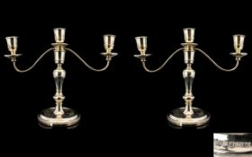 Elizabeth II - Attractive and Superb Pair of Silver Two Branch / 3 Light Candlesticks,