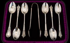 Edwardian Period Boxed Set of Six Sterling Silver Ornate Teaspoons and Matching Pair of Sugar Nips.