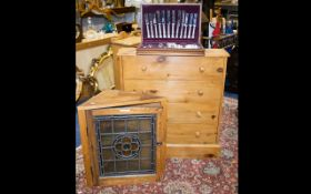 A Pine Shoe Rack comprising four dummy drawers containing two racks, height 34 inches, 32 x 7.