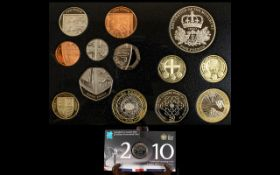 Royal Mint 2010 Proof Coin Set Together with 2010 'Countdown To The Olympic Games 2012 £5 coin.