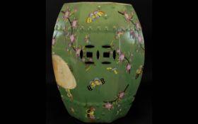 Antique Chinese Celadon Glazed Garden Stool Hexagonal Shaped, Fine Quality. Decorated Body,