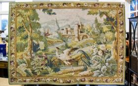 A Woven Tapestry Panel with floral and foliate borders and crane in landscape to centre. Hemmed with