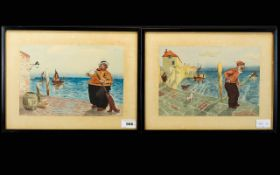 F.Vickers Pair of Watercolour Cartoon Sketches, coastal landscapes with a man on the seafront,