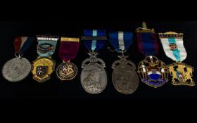 A Collection Of Masonic Medals Comprising silver vice patron medal, lodge number 4175,