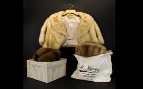 A 1960'S Blonde Mink Bolero Shawl collar stole with short sleeves,