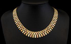 Retro 9ct Multi - Tone Gold Classical Design Necklace of Superb Quality. Good Clasp.