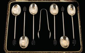 Boxed Set of ( 6 ) Six Sterling Silver Coffee Spoons.