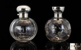 Edwardian Fine Quality Pair of Silver Topped Cut Glass Perfume Bottles of Globular Shape,