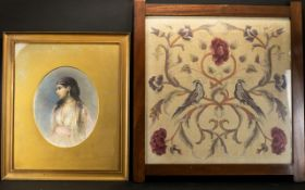 Antique Framed Sampler Wool and silk embroidered panel depicting stylised flowers and a pair of