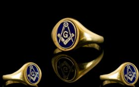 Masonic 9ct Gold and Enamel Set Ring, Fully Hallmarked for 9.375. Excellent Condition. 6.3 grams.