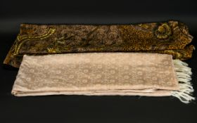 A Large Silk Crepe Scarf Black ground with ochre, umber and cream freehand batik pattern throughout,