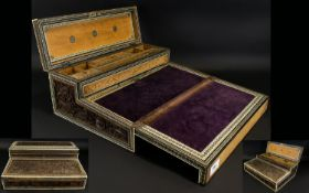 A Mid - Late 19th Century Anglo Indian Writing Slope Hinged fall front, with drawers and lidded