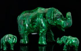 Malachite Large and Heavy Hand Carved Elephant Figure / Sculpture. Excellent Colour and Condition.