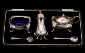 Boxed Silver Cruet Set Consisting Open Salt Cellar, Pepperette,