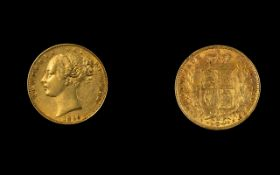 Victoria 22ct Gold Young Head / Shield Back Full Sovereign. Date 1869, DIE Number 34 - London Mint.
