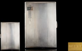 Art Deco Period Engine Turned Quality Gentleman's Silver Cigarette Case,