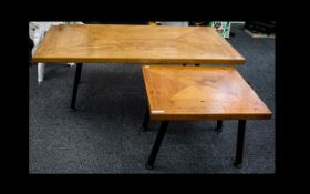 A Pair Of Scratch Built Coffee Tables Label to underside reads,