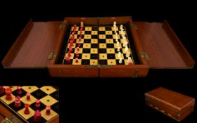 Chinese Late 19th Century Small Ivory/Miniature Chess Set with fold-up games board for travelling.