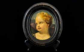 18thC Painting On Oval Panel, Depicting A Cherubs Head, Pencil Inscriptions To Verso No 10 F
