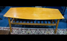 1970's Coffee Table - Low ovoid coffee table with slatted stretcher. Poor condition.